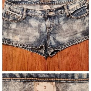 Stone washed denim shorts